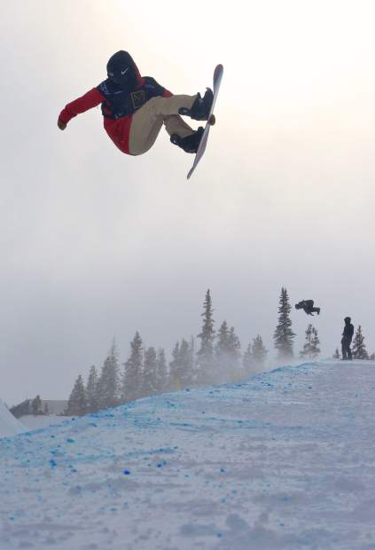 A snowboarder has a frontside Indy during practice for the U.S. Revolution Tour at Copper Mountain on Dec. 7. Competition begins today with snowboarding and ends on Dec. 10 with freeski superpipe.