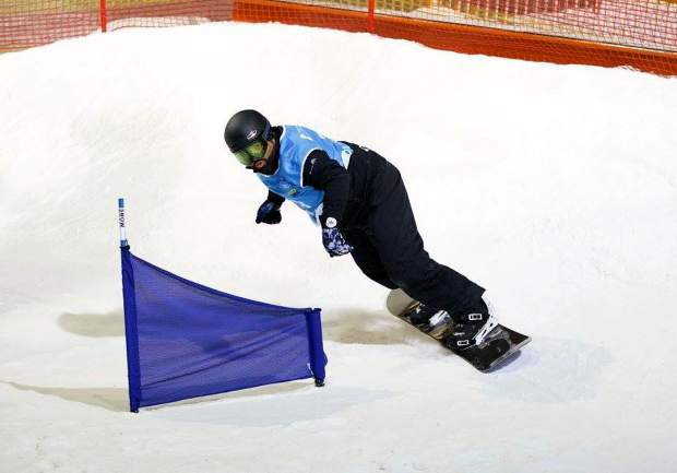 Adaptive Action Sports athlete Carlos Figueroa on the course at a recent World Cup adaptive snowboard event in the Nederlands. This year, banked slalom makes its Dew Tour debut on Dec. 8 with men's and women's adaptive races.