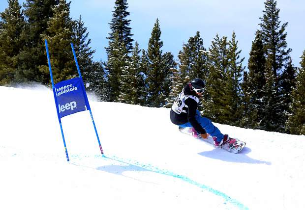 A snowboarder winds through the berms on the course at the 2015 Rhythm Rally Banked Slalom at Copper Mountain. This year, banked slalom makes its Dew Tour debut on Dec. 8 in Breckenridge with men's and women's adaptive races.