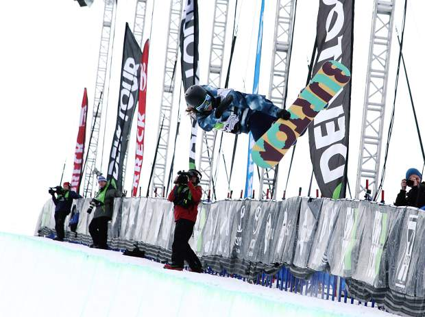 "Gus Kenworthy performs a true tail grab during competition at the USSA Grand Prix at Copper Mountain Resort. ""We'll award for really grabbing the true tail of the ski,"" Steele said, pointing at this as a good example. ""But anything reaching back and grabbing the tail counts, again looking for them to hold it throughout the whole rotation."""