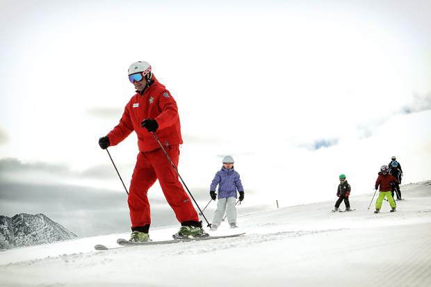 An instructor leads a children's ski lesson at Copper Mountain. A number of ski shops in Summit County offer season-long ski and snowboard rentals for young kids who are likely to change sizes during the season.