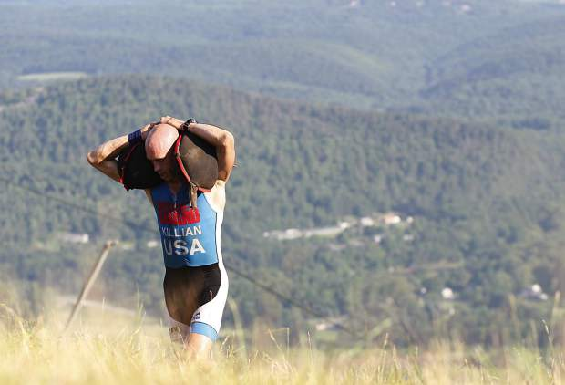 Robert Killian lugs sand bags up a hill during a recent Spartan Race in Tahoe. The Carolina native and current Longmont resident is the reigning Spartan World Champion and comes to the Breck Spartan this weekend in hopes of retaining his crown.