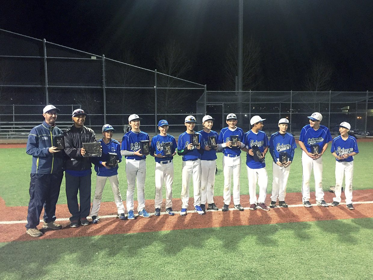 Despite a harsh winter that required indoor practices well into their season, the Summit Extreme 13U baseball team recently won its first tournament of the season in Castle Rock.