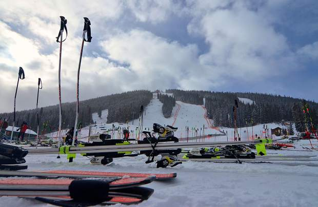 A collection of race skis and poles near the base of Super Bee chair at Copper Mountain during the annual Surefoot FIS Colorado Ski Cup on Nov. 30.. The event drew nearly 400 male and female ski racers from 23 nations for four days of GS and super-G racing.