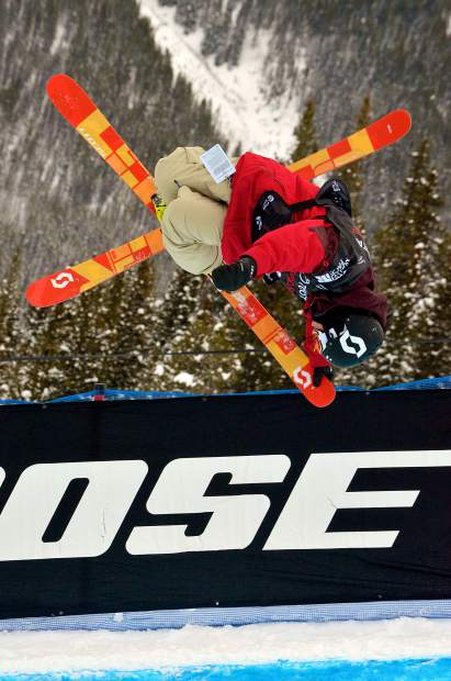 Austria's Marco Ladner tweaks a spin out of the halfpipe during qualifiers for the 2017 U.S. Grand Prix freeski finals at Copper Mountain.