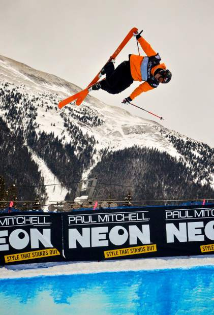 French freeskier Benoit Valentin gets massive air out of the Main Vein halfpipe during qualifiers for the 2017 U.S. Grand Prix freeski finals at Copper Mountain. Benoit took second at the finals behind French teammate Kevin Rolland.