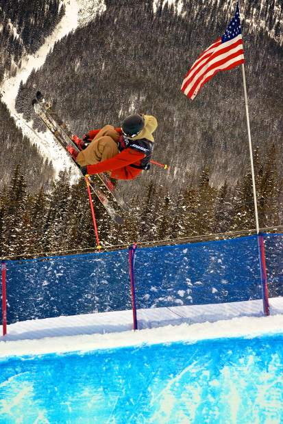 Brendan Newby of Ireland airs out of the pipe during freeski qualifers for the 2017 U.S. Grand Prix at Copper Mountain.