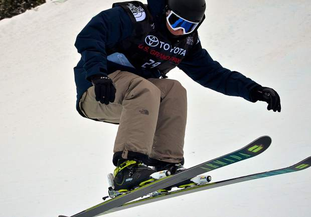 American Lennon Vaughan drops switch into the Main Vein halfpipe during qualifiers for the 2017 U.S. Grand Prix freeski finals at Copper Mountain.