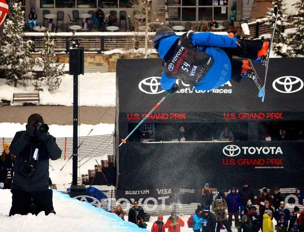 Kang-Bok Lee of Korea throws a double underflip during qualifiers for the 2017 U.S. Grand Prix freeski halfpipe finals at Copper Mountain.