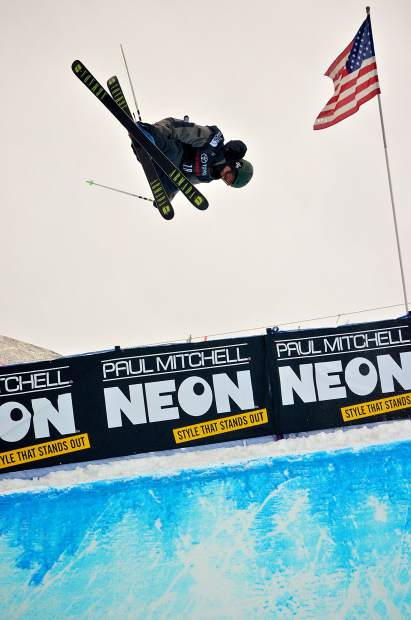 American freeskier Broby Leeds spins a 1260 on his first hit of freeski halfpipe qualifiers at the 2017 U.S. Grand Prix at Copper Mountain.