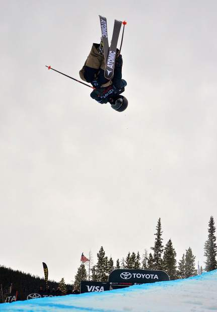 Felix Coudouy of France gets inverted during qualifiers for the 2017 U.S. Grand Prix freeski halfpipe finals at Copper Mountain.