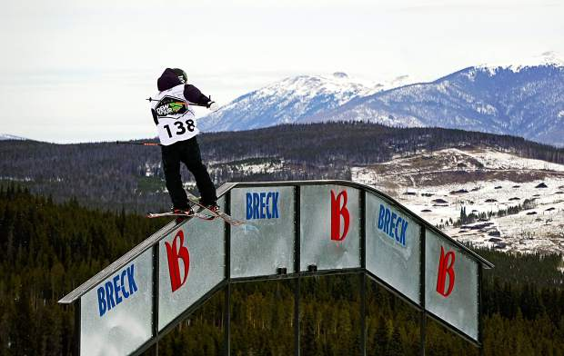 Telluride's Gus Kenworthy goes up and over the A-frame rail during the Dew Tour men's slopestyle semifinals at Breckenridge Ski Resort in 2015. The event returns to Breckenridge with a new format Oct. 8-11, including a two-part ski and snowboard slopestyle for men and women on Dec. 9-10.