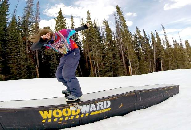 Local snowskater Billy Krowaski with a fronside boardslide in the Woodward Copper terrain park. This weekend, veteran snowskater Matt Quam brings two days of group riding and snowskate demos to Copper for the inaugural Quam Invitational.