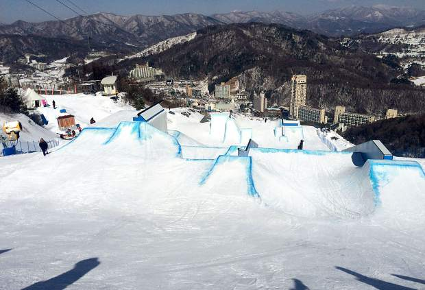 A view of the 2018 Winter Olympics slopestyle course during a test event in Seoul, South Korea last season. Silverthorne local Steele Spence traveled to South Korea for the test event and was recently selected as the lone U.S. freeski judge for the 2018 Games.