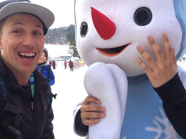 Silverthorne's Steele Spence with the 2018 Winter Olympics mascot during his trip to Seoul, South Korea for a ski and snowboard slopestyle test event last season. In February 2018, Spence travels to South Korea as the lone U.S. freeski judge on a panel of six for ski halfpipe and slopestyle.