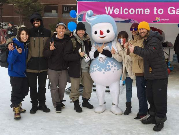Silverthorne's Steele Spence (third from left) with friends at the 2018 Winter Olympics slopestyle test event in Seoul, South Korea last season. In February 2018, Spence returns to South Korea as the lone U.S. freeski judge for ski slope and halfpipe.