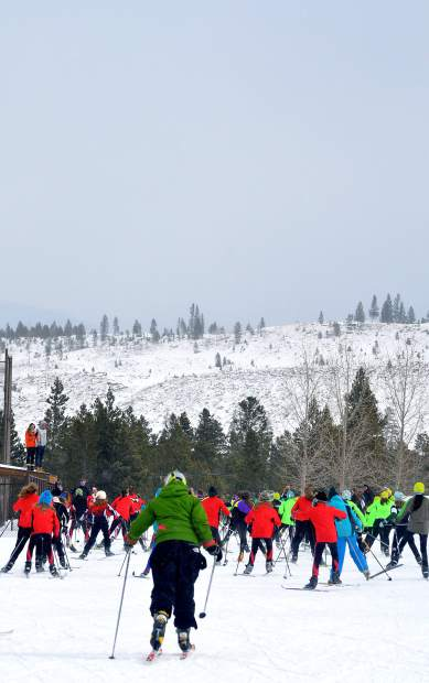 Middle school skiers at the 2016 Gold Run Nordic races take off on a 10K course around the Frisco peninsula. The Frisco Cup Nordic race series debuts on Jan. 4 as a warm-up for the 2017 Gold Run races on Feb. 12.