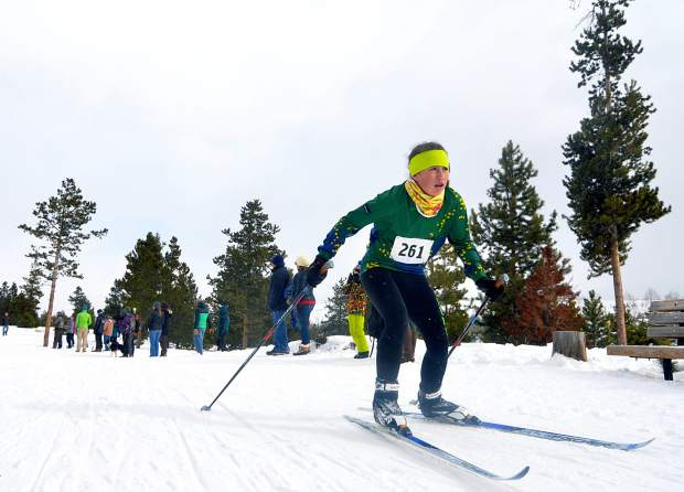 A Summit Nordic Ski Club athlete powers through the final 100 meters at the Frisco Gold Run races in Frisco on Jan. 9, 2016. The Frisco Cup Nordic race series debuts on Jan. 4 as a warm-up for the 2017 Gold Run races on Feb. 12.