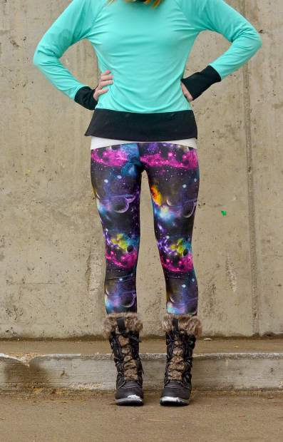 The Galaxy yoga leggings from Akinz of Fort Collins.