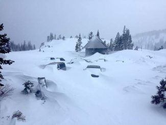 This was the snowy scene of the parking lot at Sugar Bowl Resort at Donner Summit on Wednesday.