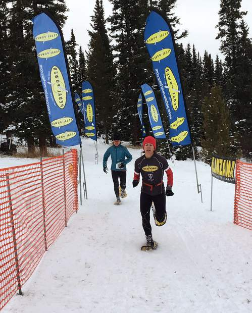 Women's winner LIsa Isom crosses the finish line just ahead of Mia Stockdale at the opening race of the Pedal Power winter series at Tennessee Pass on Dec. 10. The series continues with 5K and 10K snowshoe races on Jan. 10 in EagleVail.