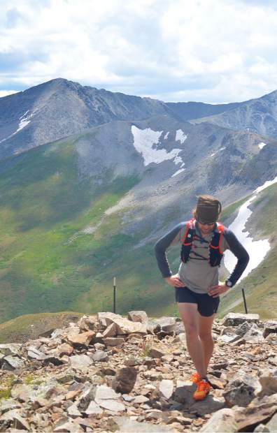 Summit Daily News managing editor at the summit of Peak Eight (12,987 feet) near the tail end of the Tenmile Traverse. While the first five peaks are relatively quick, with fast ridgeline scrambling, the final five peaks are like a marathon, with long descents on ridgeline saddles between each peak.