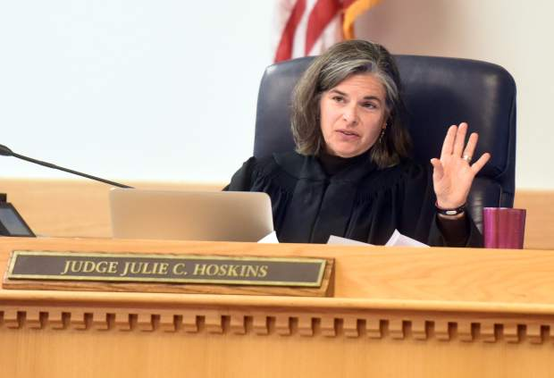 Judge Julie Hoskins addresses Paul Burman during his sentencing hearing on Wednesday at Weld County Court House in Greeley.