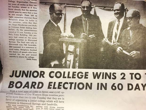 In a page from the Nov. 4, 1965, Glenwood Springs Sage, Dave Delaplane, Don Walter, Roger Henderson and Walker Coleman, all members of the junior college organization committee, are shown voting for junior college.