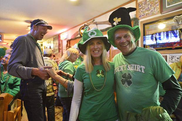 Elle and James Westphal didn't forget their St. Patrick's Day hats Friday night at Murphy's Irish Pub in Silverthorne. The pub had a number of holiday-related specials on food and drink and, at the end of the night, gave away a snowboard.