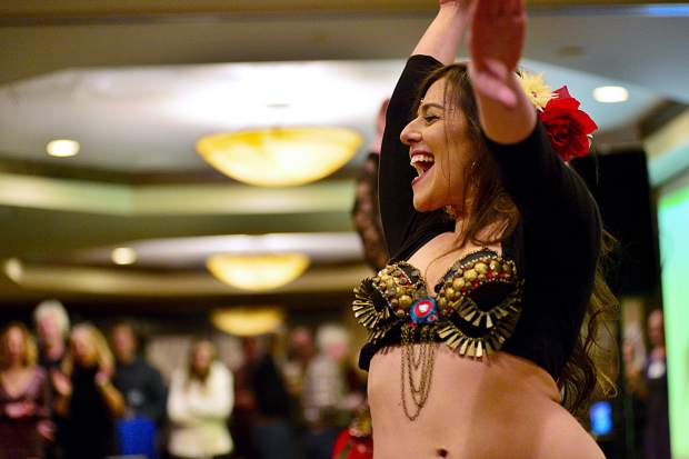 Ana Richey of the EveryBelly Dancers performs Friday night during the 28th Tim McClure Benefit at the DoubleTree in Breckenridge.