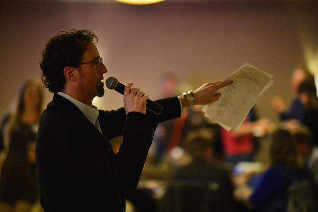 Tony Cammarata addresses the crowd at the 28th Tim McClure Benefit on Friday, March 10, at the DoubleTree in Breckenridge.