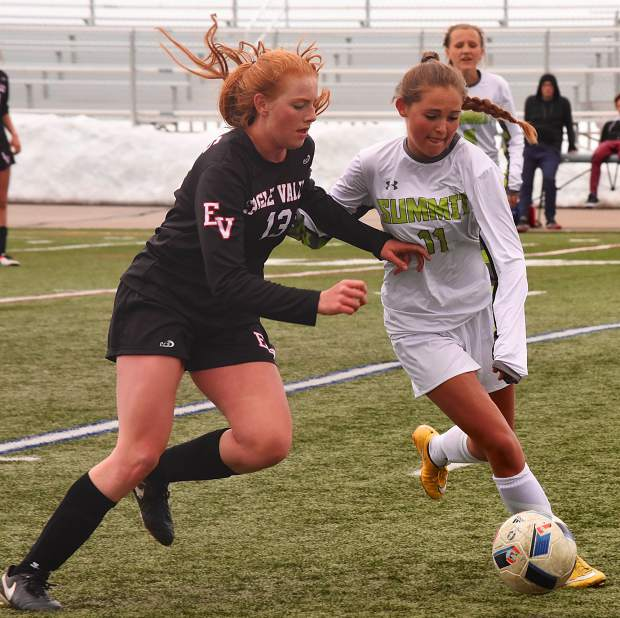 Summit sophomore Shannon Hogeman (11) jostles for the ball with Eagle Valley's Rose Sandell (13) during a home varsity soccer game on March 21. The Tigers lost, 1-3.