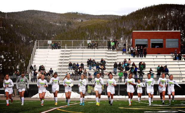 The Summit High girls soccer team jogs across the field after a home loss to Eagle Valley, 1-3, on March 21. The team is now 1-3 overall with plenty of season and promise remaining — if they can find a rhythm.