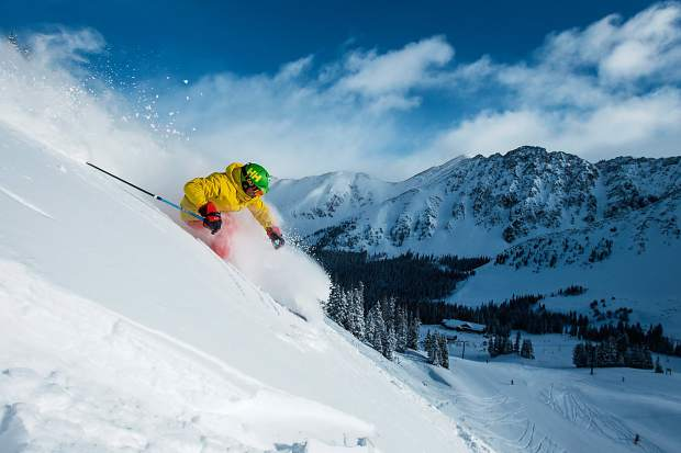A skier rides the main mountain at Arapahoe Basin earlier this season. After 10 years of review, the ski area received final endorsement of its winter and summer expansion projects from the White River National Forest on Nov. 21, 2016, and is now the only major Colorado ski area with approved expansion plans.