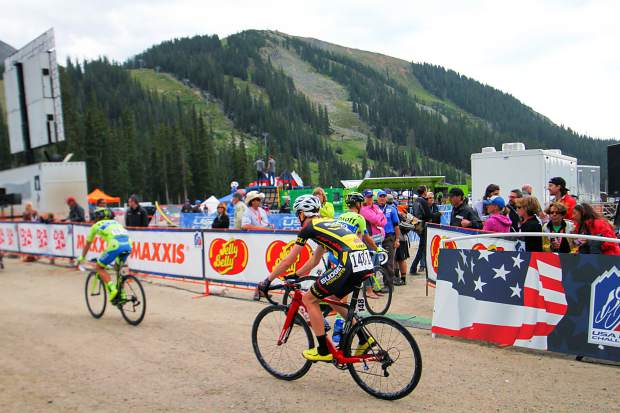 Riders in the 2015 USA Pro Challenge approach the Stage 2 finish at Arapahoe Basin after a 115-mile trek from Steamboat Springs, with two King of the Mountain climbs at Rabbit Ears Pass and Ute Pass before the mountain-top finish. It was the first (and final) A-Basin summit finish in the event's short-lived history.