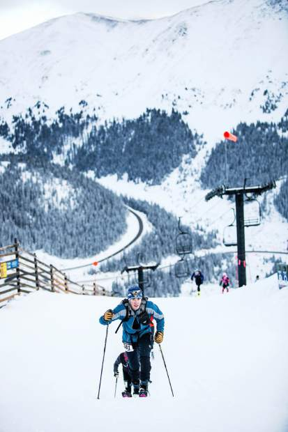 Alpine touring skiers charge up a slope at Arapahoe Basin during one of the ski area's Rise and Shine Rando events. The ski area is wildly popular with uphill travelers, particularly early in the morning and late in the afternoon when lifts stop spinning for the general public.