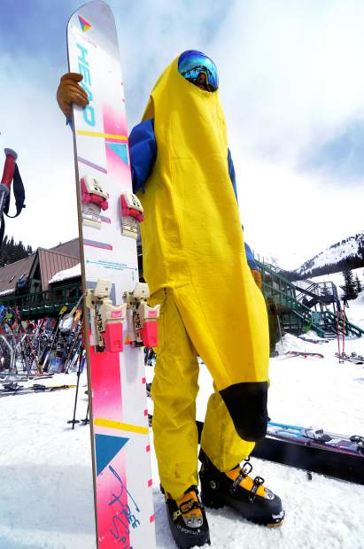 Like something from the Miami coast: A banana suit is only half of the Gaper Day outfit for Denver's Roy Hobbs in 2016. He found the '80s-era Head monoski on eBay a few years ago and started cobbling together the ultimate neon ride, including bindings he Frankensteined from a pair of thrift store skis.