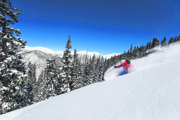 An Arapahoe Basin employee enjoys a powder day in The Beavers section of the Summit County ski area in March 2015. Patroller- and lift-served development of the out-of-bounds region of the resort was approved in November 2016 by the White River National Forest.
