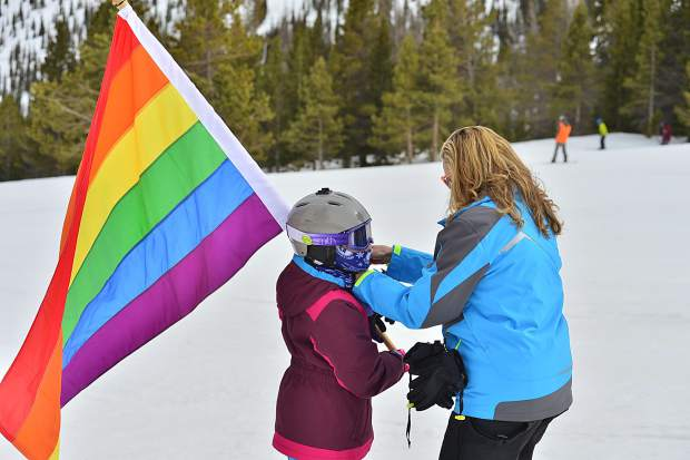 Skiers get ready to head down the mountain at the Color Run Parade on Saturday for the first-ever Breck Pride Week.