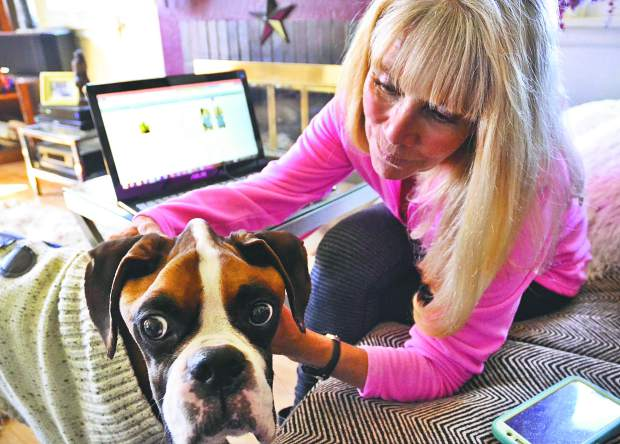 Lynn Richardson of Greeley gives some love to Spartan, a boxer she's fostered for a few weeks. Spartan was neglected to the point of near starvation by his owners, but he's doing a little better.