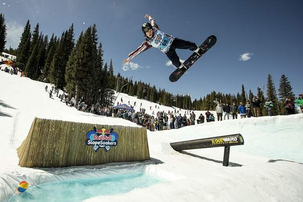 Playing poolside at the 2017 Red Bull Slopesoakers pond-skimming rail jam on April 15 at Copper Mountain.