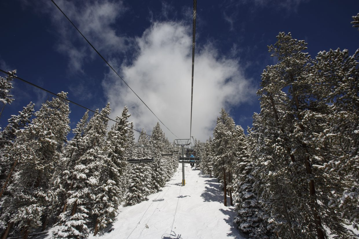 Keystone Resort's Wayback Chairlift on a bluebird spring day.