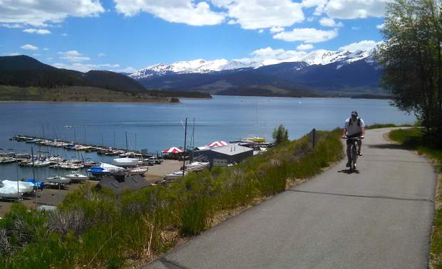 The northern section of the Lake Dillon bike route is paved and relatively mellow, with flat sections spread between gentle hills overlooking the lake.