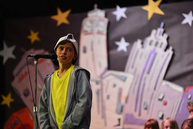 "In the role of Riff, one of the leads, Mateo Bonta performs in Breckenridge Elementary's spring program, ""We Haz Jazz,"" Tuesday at the school."