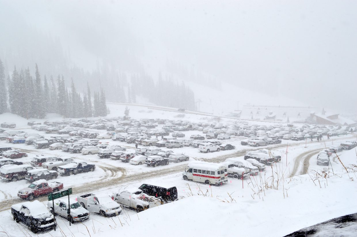 Even the upper lots were full on Thursday at Arapahoe Basin.