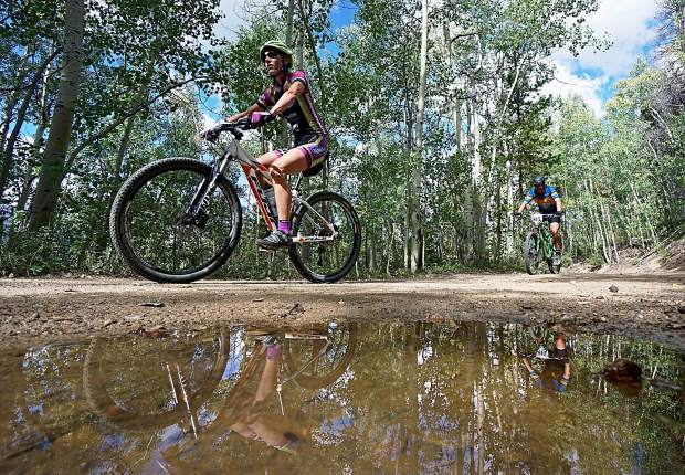 Racers ascend up a series of aspen-lined switchbacks during the Fall Classic mountain bike race in Breckenridge in 2015. The vaunted races returns this year on Sept. 4.