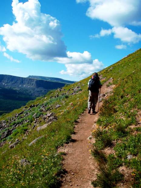 Vail resident Rita Wechter hikes in the Flat Tops Wilderness area, found in the White River National Forest north of Glenwood Springs. Even casual hikers and backpackers can benefit from an early-season training program. On average, backpacking and mountaineering burn a hefty 585 caolories/hour.