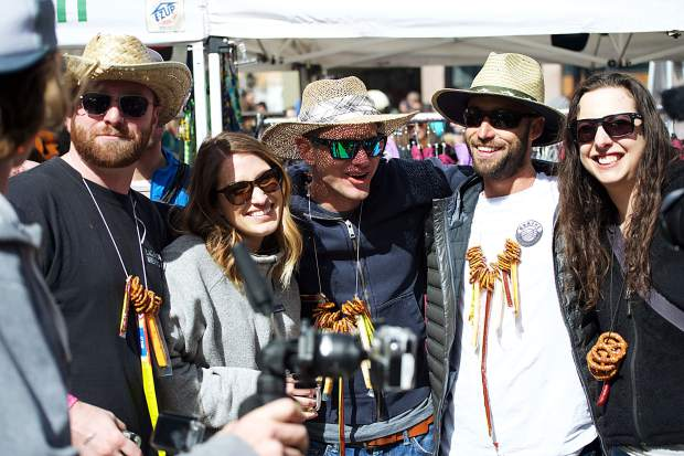 A group of festivalgoers poses for a photo April 7 at the Spring Beer Festival in Breckenridge.