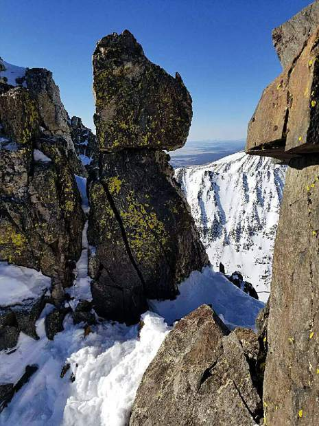 Two California climbers cliffed out roughly 300 feet from the crest of Quandary Peak on Sunday evening. Here, a view of their location along the Summit County 14er's West Ridge route where they hunkered down overnight awaiting rescue.