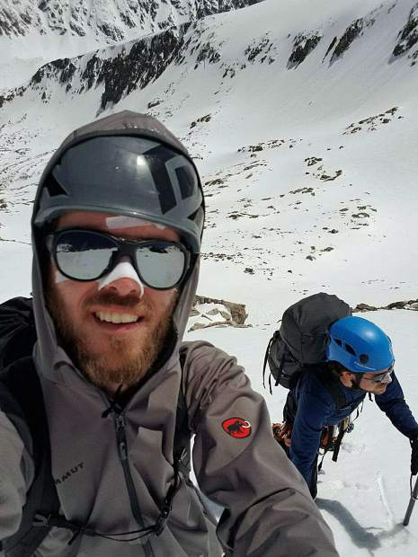 Mountaineers Thomas Ferrara, left, and friend Eric Hall, climbed Quandary Peak along its difficult West Ridge starting Sunday morning, May 28. The trek took a turn for the worse as they approached the 14,000-foot peak's summit, however, and they required emergency rescue on Monday after being stranded overnight.